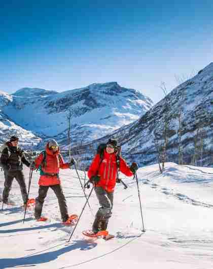 People snowshoeing in Møre og Romsdal, Fjord Norway