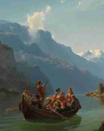 "The painting ""Bridal Procession on the Hardangerfjord"" at the National Gallery in Oslo, one of Norway's top art museums"