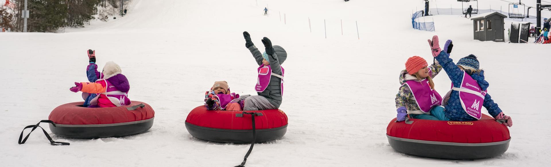 Kids tubing at Cannonsburg Ski area.