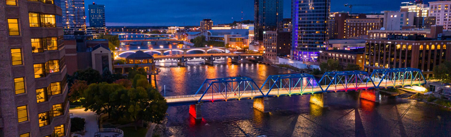 City Lights at Night in Downtown Grand Rapids