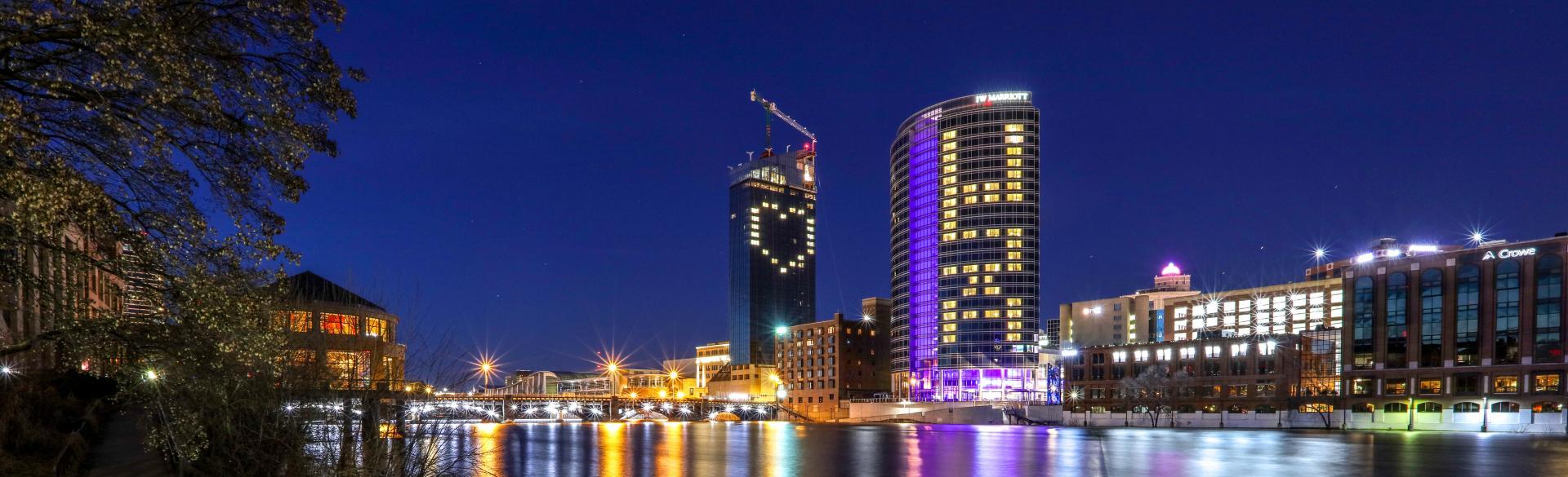 Grand Rapids City Skyline at Night