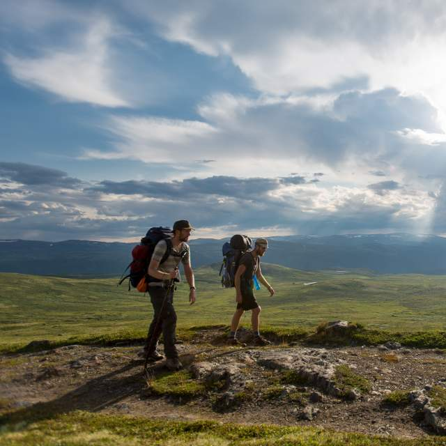 Two men wearing backpacks hiking during summer along the Pilgrim trail, part of the St. Olav Ways in Dovrefjell.