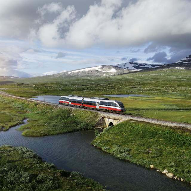 A train on the Nordlandsbanen in Northern Norway