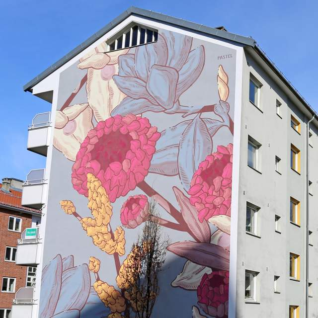 Colourful street art on a building in Tøyen in Oslo, Eastern Norway