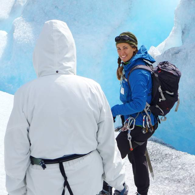 Linn Larsson and another person on the Nigardsbreen glacier, Fjord Norway