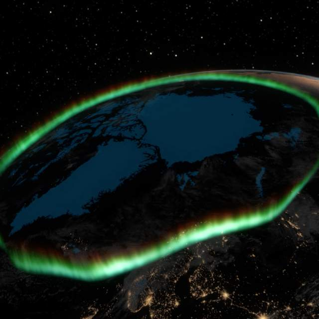 Satellite view of the green Northern Lights dancing over the Earth's polar circle