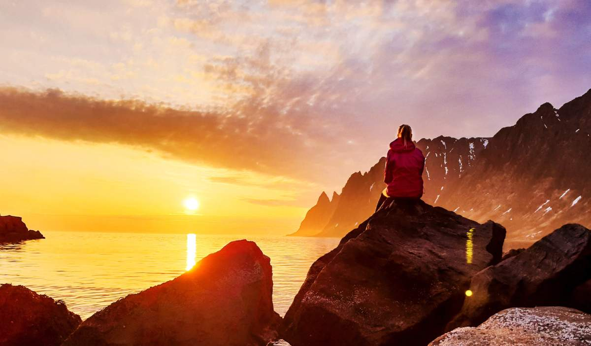 f9639e9799dd6 A person watching the midnight sun at Senja in Northern Norway