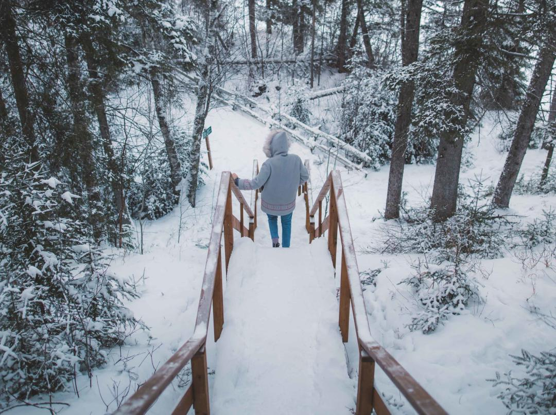 Walking down stairs in the snow covered forest at Riding Mountain National Park, Manitoba