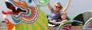 Woman and boy on roller coaster