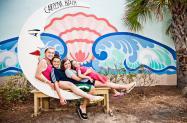 Carolina Beach Moon Mural with kids