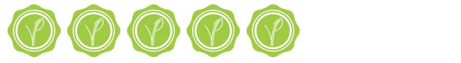 cinco sellos verdes con una planta en el centro