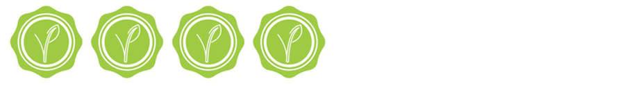 cuatro sellos verdes con una planta en el centro