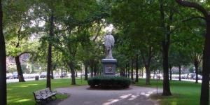 Commonwealth Ave Mall and statue