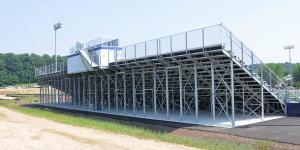 Back view of bleacher with leg trusses