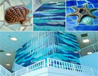 photo of art installation titled Dancing Oceans. Tile and brass mosaic.