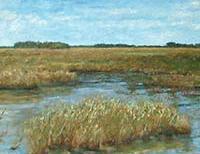 Public art oil painting depicting the Florida Everglades.
