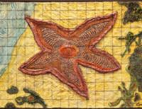 Photo of artwork Starfish Shuffle, hand painted ceramic tile mural in the form of starfish.