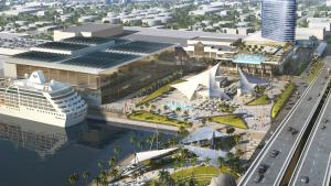 Birds eye view of the proposed Convention Center Expansion looking west