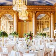 Marriott Ball Room with Beautiful Chandeliers and Center Pieces