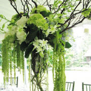 Center Piece of White and Green Flowers in a Tall Glass Vase