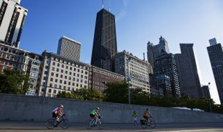 Bicyclists downtown on the Chicago Lakefront Trail