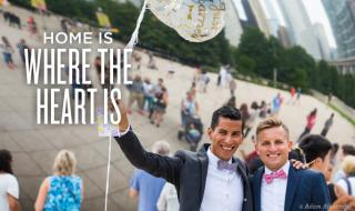 Recently married gay couple celebrating in Millennium Park