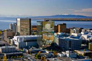 Downtown Anchorage skyline with Mount Susitna