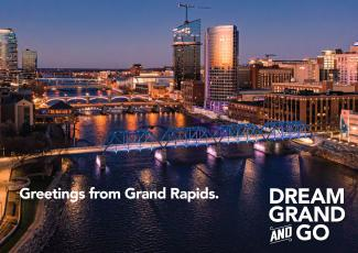 Postcard featuring the downtown skyline of Grand Rapids