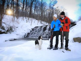 Cross country skiing with furry friend at Laurel Hill State Park, Somerset, PA