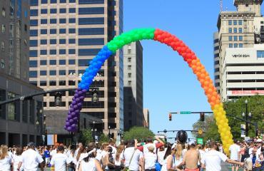 Rainbow Ballon Arch at Pride Festival