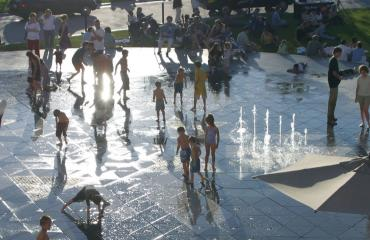 Fountain at Olympic Legacy Plaza, The Gateway