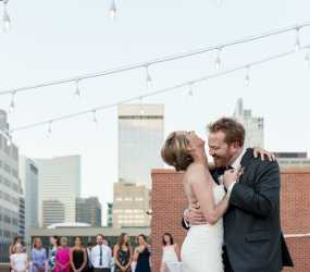 Bride And Groom At Their Rooftop Wedding In Denver Colorado