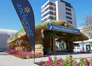 Log cabin visitor center in Anchorage