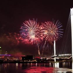 Omaha Skyline with Fireworks from Bob
