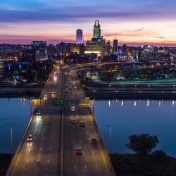 Omaha Skyline Bridge at Night