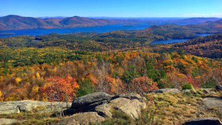 Landscape view of Lake George in the Adirondacks region of New York