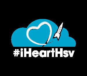 White iHeartHsv logo