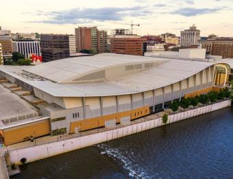 Skyline via drone. Fall, 2018. Convention center in forefront and La Grande Vitesse (Calder Plaza) in background.