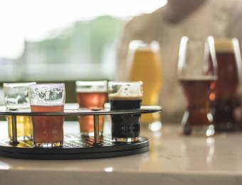 Flight and craft beer at Creston Brewery.