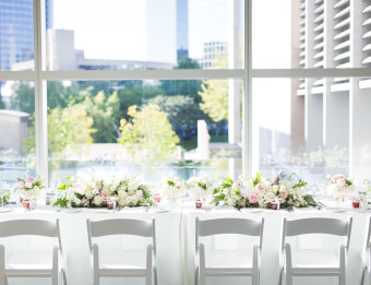 Overlooking the downtown cityscape through the Grand Rapids Art Museum for a wedding.