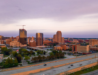 Grand Rapids Downtown Skyline Aerial View