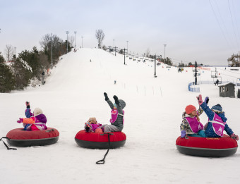 Kids tubing at Cannonsburg Ski area.