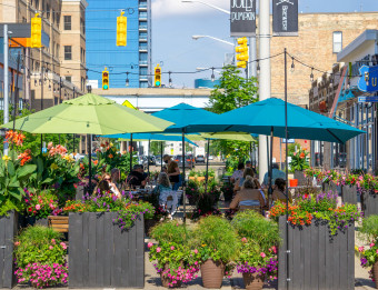 Bridge Street Social Zone for outdoor dining.