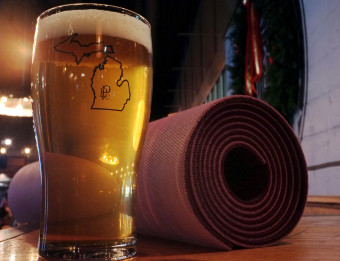 Perrin beer and yoga mat