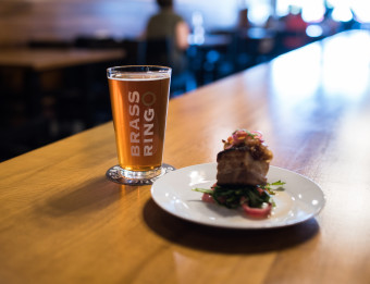 Beer and food on the counter at Brass Ring Brewing