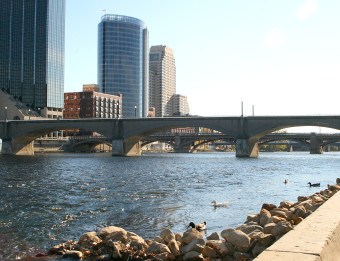 Grand Rapids skyline along the edge of the Grand River.