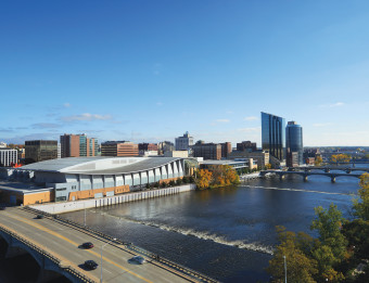 Aerial view of the DeVos Place Convention Center and Performance Hall in Grand Rapids, MI