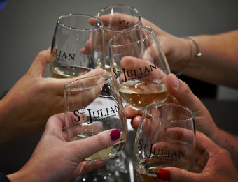 Glasses clinking at St. Julian Winery during Raise a Glass Wine Tour