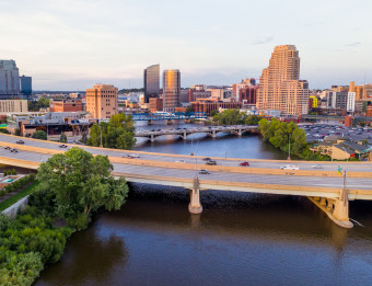 Grand Rapids' skyline featuring bridges over the Grand River