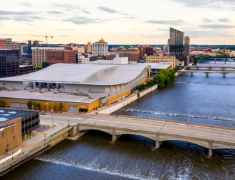Aerial view of Convention Center and Grand River in Grand Rapids